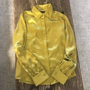 Apostrophe Satin Green Blouse